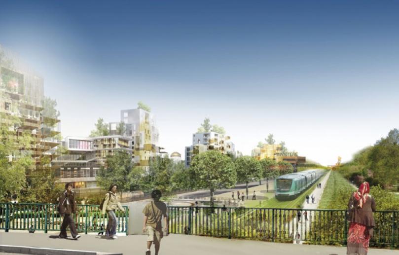 La Tangentielle Nord, un tram-train traversant le parc, doit être livrée en 2018, avec deux gares en bordure du parc (Stains et Dugny). Elle serait partiellement bordée d'immeubles. Un ministère pourrait même y être implanté. ATELIER CASTRO-DENISSOF & ASSOCIÉS