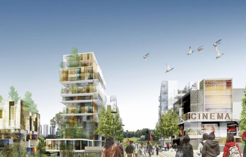 Les architectes imaginent doter le parc de 30 entrées – contre 10 aujourd'hui – et de 60 perspectives. Une passerelle serait érigée au-dessus de l'autoroute A1 pour relier la Cité des 4.000 à ce nouveau morceau de ville. ATELIER CASTRO-DENISSOF & ASSOCIÉS