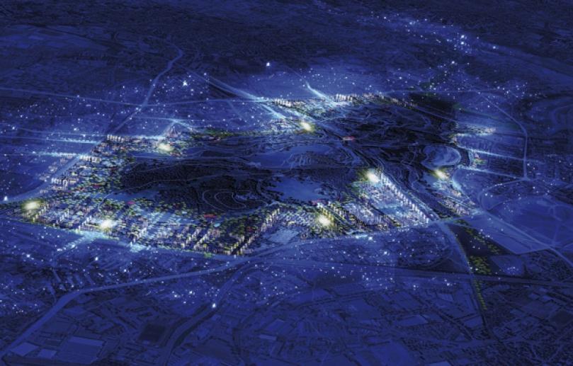 """Le parc tel qu'il serait vu d'avion - Roissy-CDG est tout proche – de nuit. Le poumon vert du 93 deviendrait une nouvelle """"centralité"""" du Grand Paris, et le plus grand projet d'aménagement urbain d'Europe, à six kilomètres au nord de la capitale. ATELIER CASTRO-DENISSOF & ASSOCIÉS"""