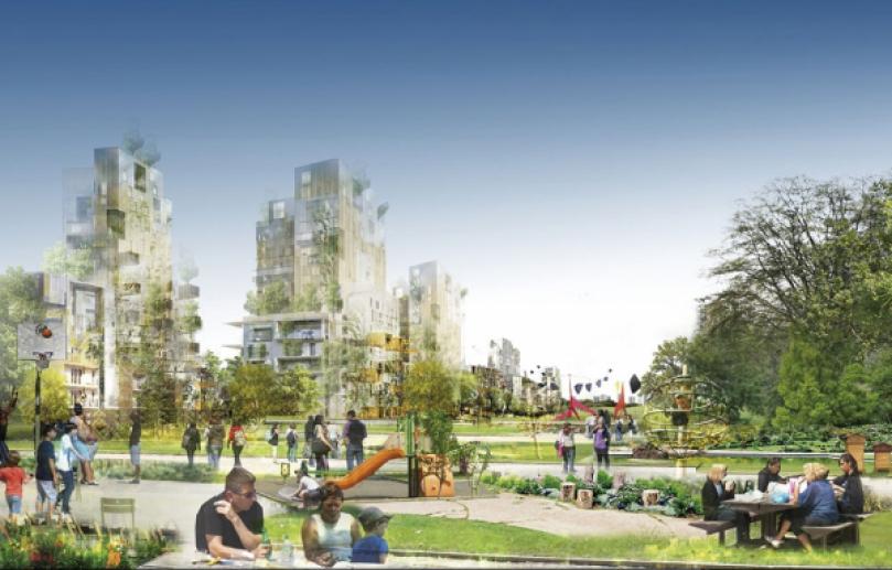 """La façade urbaine du nouveau """"?parc habité"""" (24.000 logements) permettrait une """"couture""""entre la ville et la nature, à l'image du parc Monceau, à Paris, Hyde Park, à Londres, ou Central Park, à New York. Les immeubles ne dépasseront pas 50 mètres de haut en raison de la présence des aéroports. ATELIER CASTRO-DENISSOF & ASSOCIÉS"""
