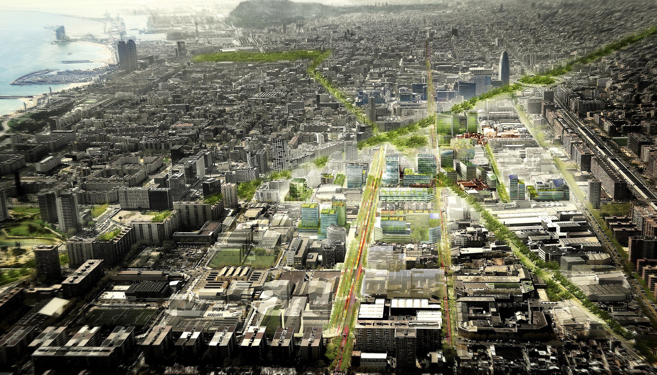 """Vue aérienne du projet de """"Smart City Campus"""" à Barcelone"""