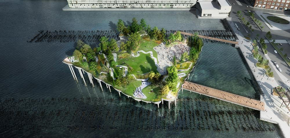 Posé sur 300 « nénuphars » de béton, ce jardin vallonné serait suspendu à plusieurs dizaines de mètres au-dessus du fleuve new-yorkais