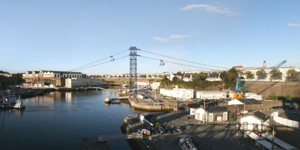 D'un coût de 18 millions d'euros, l'aménagement de ce premier téléphérique urbain de France recevra 2,5 millions d'euros de subvention d'Etat. Destiné à relier les deux rives de la Penfeld et élargir le cœur d'agglomération, ce projet de franchissement du fleuve par câble, verra le jour en 2016. (Crédits : Bouygues-BMF)